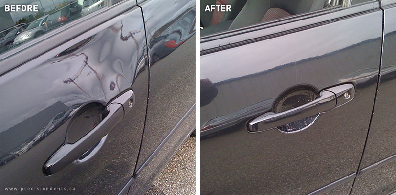 Driver door on a 2009 Mazda 3. Typical of break-in damage found on a Mazda 3 & Before u0026 After - Precision Dent Repair   Paintless Dent Repair in ...